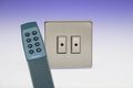 Varilight Eclique 2 Screwless Brushed Steel 2-Gang 1-Way Remote/Touch Master LED Dimmer Inc. Remote